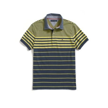 Image for CUSTOM FIT WOVEN COLLAR STRIPE POLO from Tommy Hilfiger USA