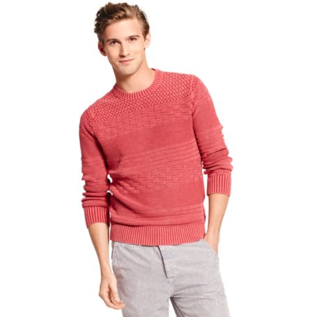 Image for CREW NECK GARMENT DYE TEXTURE SWEATER from Tommy Hilfiger USA