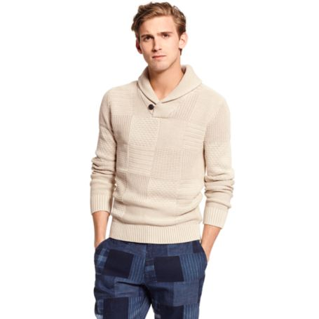 Image for SHAWL NECK GARMENT DYE TEXTURE SWEATER from Tommy Hilfiger USA