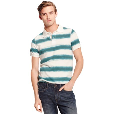Image for SLIM FIT PAINT STRIPE POLO from Tommy Hilfiger USA