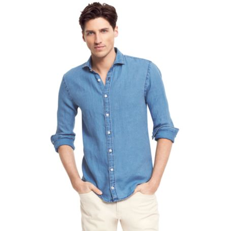 Image for NEW YORK FIT LINEN INDIGO SHIRT from Tommy Hilfiger USA