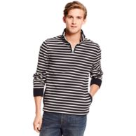 STRIPE MOCK NECK FLEECE $59.99