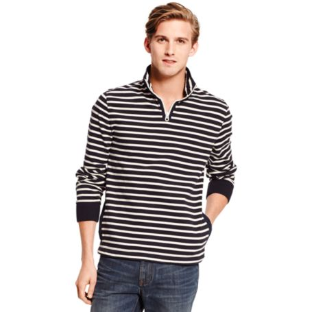 Image for STRIPE MOCK NECK FLEECE from Tommy Hilfiger USA