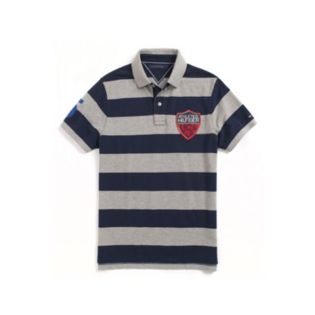Image for SLIM FIT STRIPE POLO WITH BADGE from Tommy Hilfiger USA