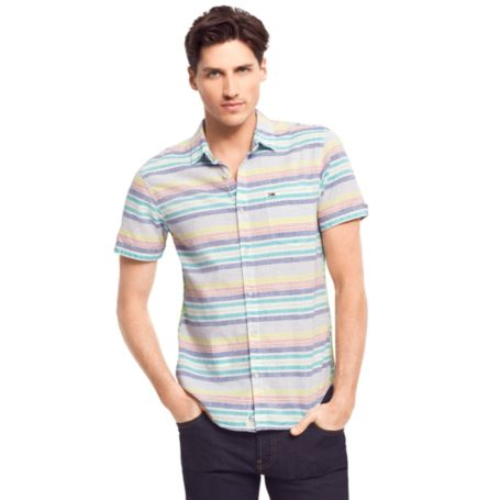 Image for HORIZONTAL LINEN STRIPE SHIRT from Tommy Hilfiger USA
