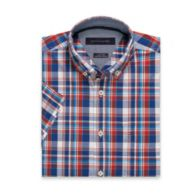 HEATHERED PLAID SHORT-SLEEVE SHIRT $49.50