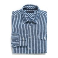 CUSTOM FIT LINEN STRIPE SHIRT $44.99