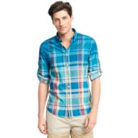 NEW YORK FIT DIP DYE PLAID SHIRT
