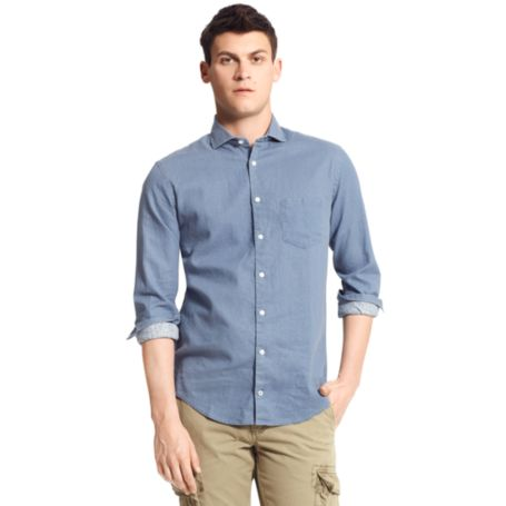 Image for NEW YORK FIT DOT PRINT CHAMBRAY SHIRT from Tommy Hilfiger USA