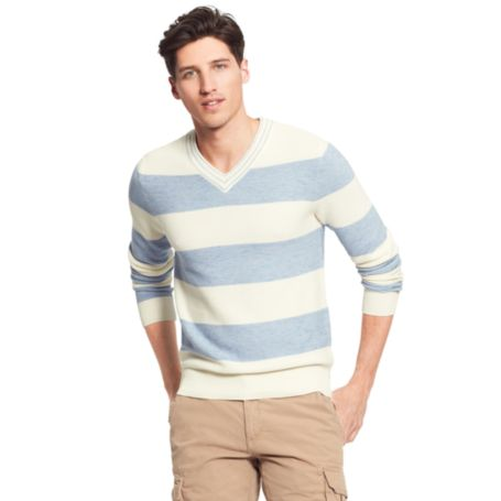 Image for BLOCK STRIPE V NECK SWEATER from Tommy Hilfiger USA