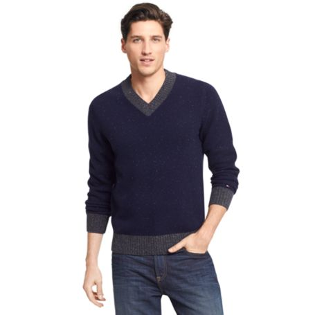 Tommy Hilfiger Flecked Lambswool Sweater - Navy Heather