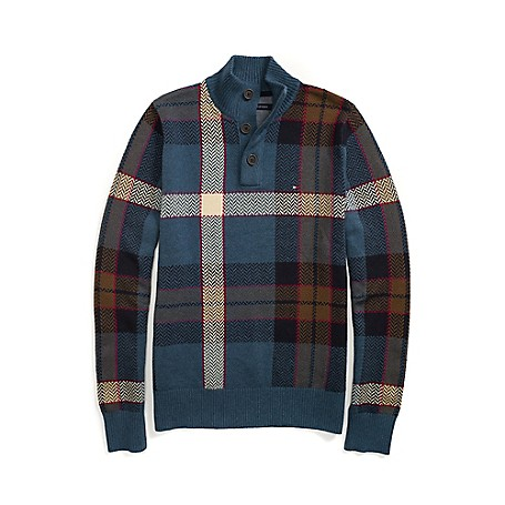 Tommy Hilfiger Half Mock Neck Plaid Sweater - Blue Jeans Outlet Exclusive Product90% Cotton/ 10% WoolMicro Flag On ChestMachine WashableImported