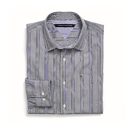 Tommy Hilfiger Custom Fit 80'S Stripe Shirt - Royal Blue Outlet Exclusive Product100% CottonCustom Fit 80'S Two Ply Shirt: Our Best Shirt Tailored In Soft, Superior 80'S Two Ply Yarns In Custom Fit.Microflag On ChestMachine WashableImported