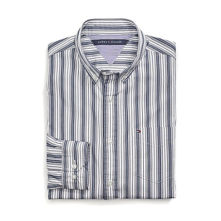 Tommy Hilfiger Custom Fit 80'S Stripe Shirt - Black Iris Outlet Exclusive Product100% CottonCustom Fit 80'S Two Ply Shirt: Our Best Shirt Tailored In Soft, Superior 80'S Two Ply Yarns In Custom Fit.Microflag On ChestMachine WashableImported