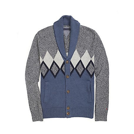 Tommy Hilfiger Final Sale - Argyle Shawl Cardigan - Tap Shoes Heather Outlet Exclusive Product100% CottonMicro Flag On SleeveMachine WashableImported