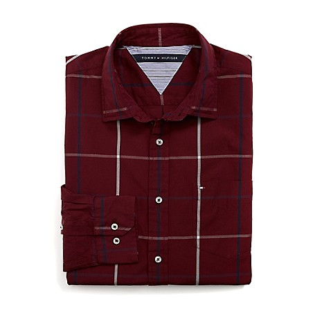 Tommy Hilfiger Custom Fit 80'S Windowpane Shirt - Zinfandel Outlet Exclusive Product100% CottonCustom Fit 80'S Two Ply Shirt: Our Best Shirt Tailored In Soft, Superior 80'S Two Ply Yarns In Custom Fit.Microflag On ChestMachine WashableImported
