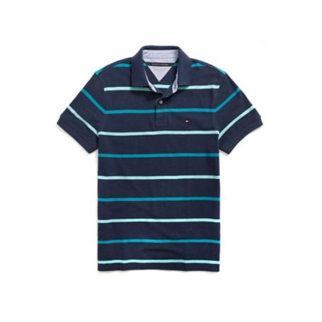 Tommy Hilfiger Custom Fit Multi Stripe Pique Polo - Classic White/ Golf Green/ Navy