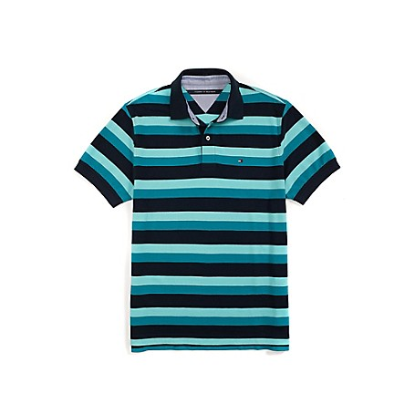 Tommy Hilfiger Regular Fit Multi Stripe Pique Polo - Classic Blue/ French Blue/ Azure Blue Outlet Exclusive ProductMachine WashableImported
