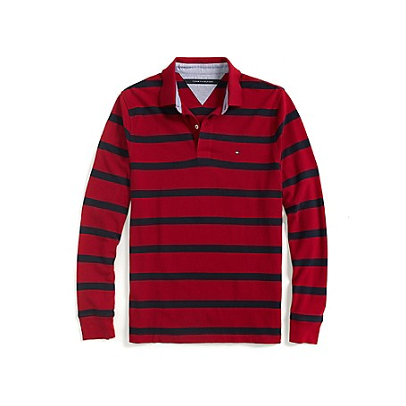 Tommy Hilfiger Classic Fit Long Sleeve Stripe Polo - Amazon/ Navy Outlet Exclusive ProductMachine WashableImported