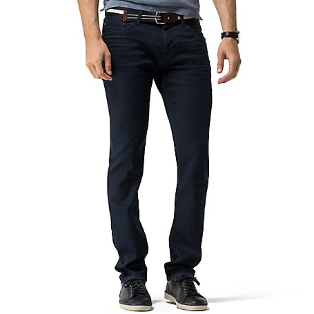 Tommy Hilfiger Slim Fit Deep Wash Jeans - Easton Blue Tommy Hilfiger Men's Jean. Our Slimmest Jean Is A Modern Choice. Styled With A Comfortable Amount Of Stretch In A Deep Wash That Works With Everything.• 93% Cotton, 6% Synthetic, 1% Elastane.• 5-Pocket Styling.• Machine Washable.• Imported.