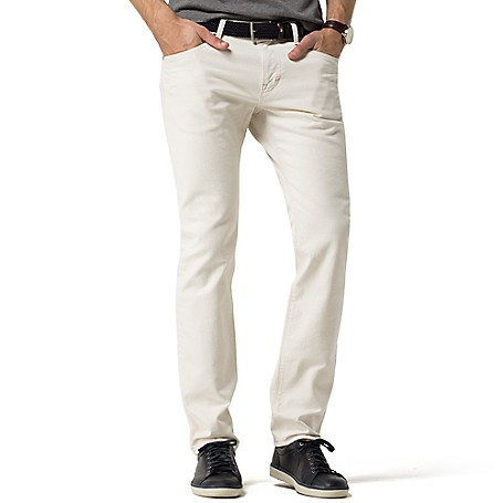 Tommy Hilfiger White Denton Jeans - Litchfield Ecru Tommy Hilfiger Men's Jean. Our Most Popular Denim Fit In Classic White-No Longer Reserved For The Warmer Months. • Straight Fit, Lower Rise, Straight Leg.• 98% Cotton, 2% Elastane.• Five Pocket Styling.• Machine Washable.• Imported.