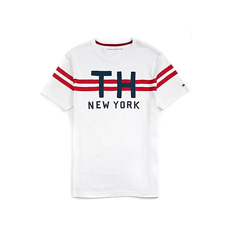Tommy Hilfiger Chest Stripe Graphic Tee - Amazon Outlet Exclusive ProductMachine WashableImported