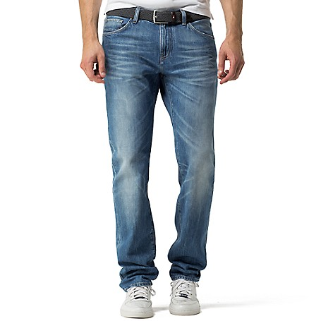Tommy Hilfiger Faded Denton Jeans - Anchor Blue Tommy Hilfiger Men's Jean. Our Most Popular Denim Fit, Faded And Whiskered To Look Like You've Been Wearing Them For Years. • Straight Fit, Lower Rise, Straight Leg.• 98% Cotton, 2% Elastane.• Five Pocket Styling.• Machine Washable.• Imported.
