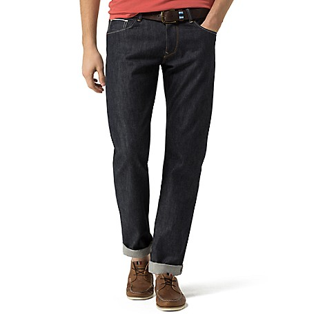 Tommy Hilfiger Denton Straight Fit Jeans - Bonfire Indigo Tommy Hilfiger Men's Jean. Our Best-Selling Straight Fit Jean, Constructed From Raw White Oak Premium Denim With A Subtly Tailored Fit. • Straight Fit, Lower Rise, Straight Leg.• 100% Cotton.• 5-Pocket Styling.• Machine Washable.• Imported.