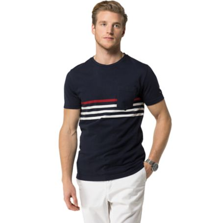 Tommy Hilfiger Signature Stripe Tee - Dark Indigo / Snow White  Eur