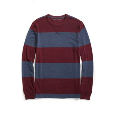 Tommy Hilfiger Stripe Long Sleeve Tee - Tapestry Red Heather/Blue Heather - L