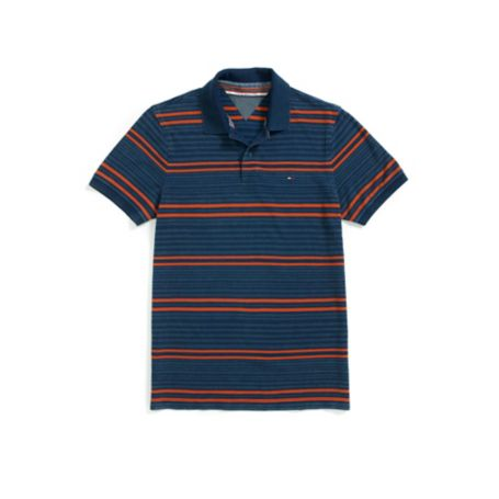 Tommy Hilfiger Slim Fit Stripe Polo - Velvet Blue - Xs