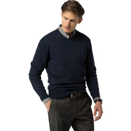 Tommy Hilfiger Classic Wool V-Neck Sweater - Navy Blazer Htr - Xs
