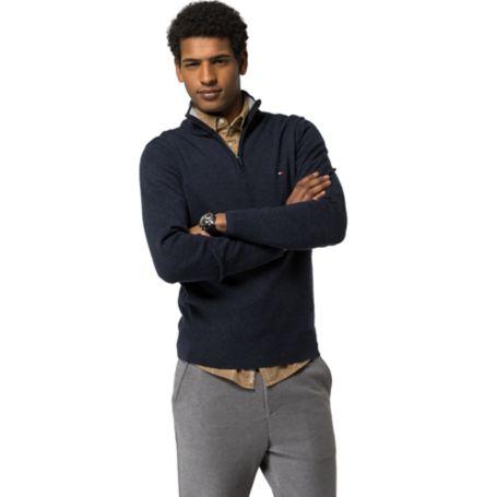 Tommy Hilfiger Wool Half-Zip Sweater - Navy Blazer Htr - M