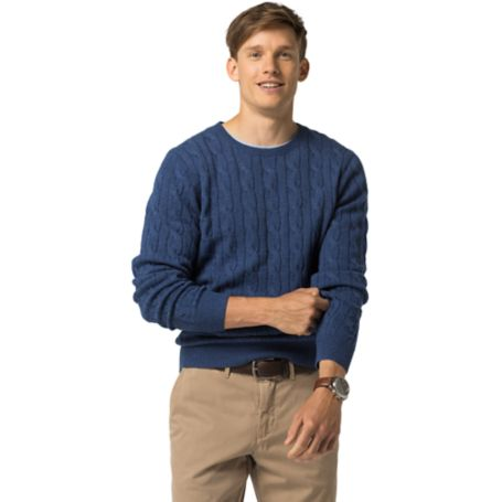 Tommy Hilfiger Classic Wool Cable Knit Sweater - Nocturnal Heather - S