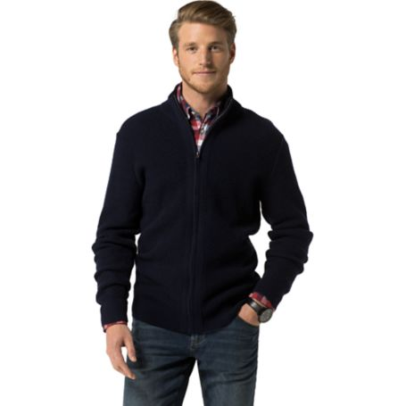 Tommy Hilfiger Ribbed Zip Cardigan - Tigers Eye Heather