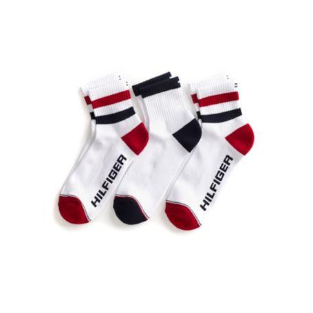 Tommy Hilfiger Athletic Socks 3Pk - Red - Os