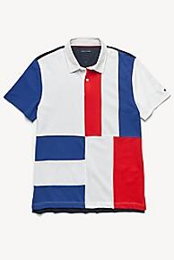 타미 힐피거 Tommy Hilfiger Custom Fit Pique Cotton Polo,BRIGHT WHITE / SURF THE WEB / RED