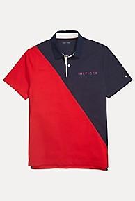 타미 힐피거 Tommy Hilfiger Custom Fit Stretch Cotton Polo,NAVY BLAZER / RED