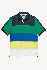 타미 힐피거 Tommy Hilfiger Custom Fit Pique Cotton Polo,BLUE/ GREEN/YELLOW/WHITE