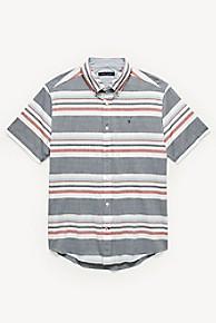 타미 힐피거 Tommy Hilfiger Short-Sleeve Stripe Shirt,BLUE/RED