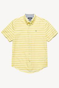 타미 힐피거 Tommy Hilfiger Short-Sleeve Stripe Shirt,LEMON ZEST