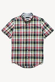 타미 힐피거 Tommy Hilfiger Short-Sleeve Plaid Shirt,RED/NAVY/YELLOW