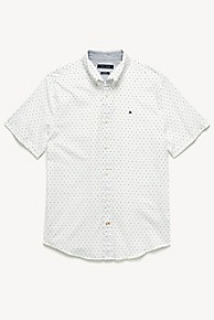 타미 힐피거 Tommy Hilfiger Short-Sleeve Microprint Shirt,BRIGHT WHITE