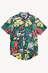 타미 힐피거 Tommy Hilfiger Short-Sleeve Tropical Shirt,NAVY/GREEN/YELLOW/RED/WHITE