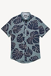 타미 힐피거 Tommy Hilfiger Short-Sleeve Palm Print Shirt,GREY/BLUE