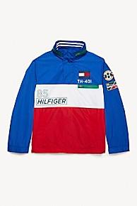 타미 힐피거 Tommy Hilfiger Popover Windbreaker,SURF THE WEB / BRIGHT WHITE/ APPLE RED