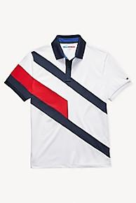 타미 힐피거 Tommy Hilfiger Diagonal Colorblock Polo,BRIGHT WHITE