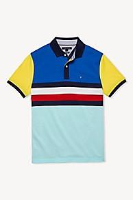 타미 힐피거 Tommy Hilfiger Colorblock Stripe Polo,PEACOAT