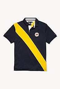 타미 힐피거 Tommy Hilfiger Colorblock Stripe Dive Logo Polo,SKY CAPTAIN BLUE/LEMON YELLOW