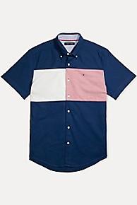 타미 힐피거 Tommy Hilfiger Flag Shirt In Stretch Cotton,NAVY BLUE